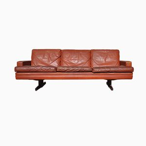 Norwegian Leather & Rosewood 3 Seater Sofa by Fredrik Kayser for Vatne Lenestolfabrikk, 1965