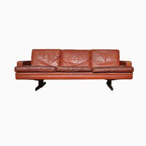 Norwegisches 3-Sitzer Sofa aus Leder & Palisander von Fredrik Kayser für Vatne Lenestolfabrikk, 1965