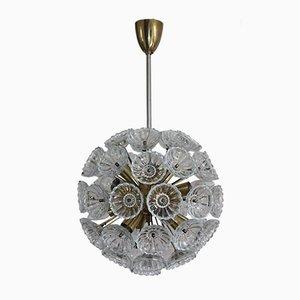 Lámpara de araña Sputnik con flores de vidrio, años 60