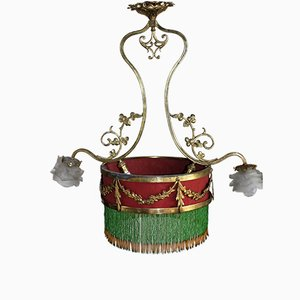 French Belle Époque Gilt Bronze Hanging Lamp, 1890s