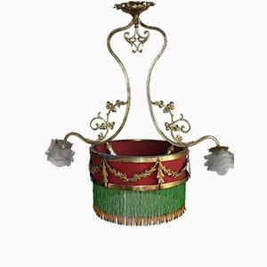 Lampe à Suspension Belle Époque en Bronze Doré, France, 1890s
