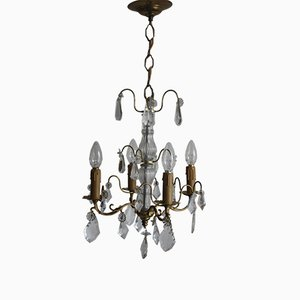 Louis XVI Style Brass and Cut Crystal Chandelier, 1930s