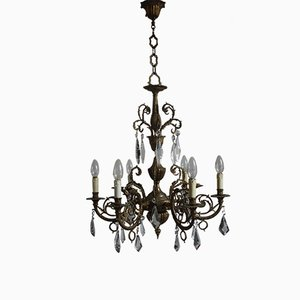 Six-Light Bronze and Crystal Chandelier, 1930s