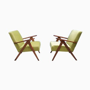 Mid-Century Green Velvet Easy Chairs, 1960s, Set of 2