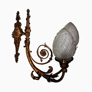 Large Antique Bronze Wall Light, 1890s
