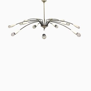 Mid-Century 16-Light Brass Sputnik Chandelier