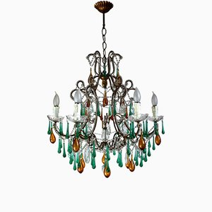 Italian Beaded Crystal Amber Drops Chandelier, 1950s