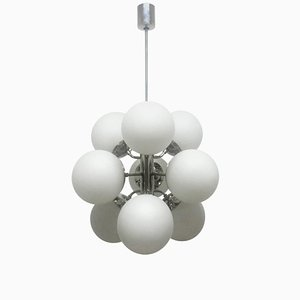 Mid-Century German Glass and Nickel Chandelier, 1950s