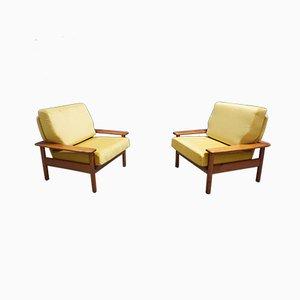 Sillones daneses de teca y terciopelo dorado, años 60. Juego de 2