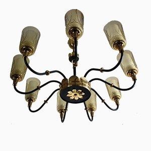 Großer Mid-Century Kronleuchter mit neun Leuchten