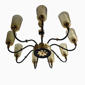 Large Mid-Century Nine-Light Chandelier