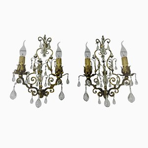 Gilt Wall Sconces, 1950s, Set of 2