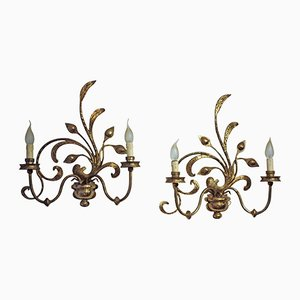 French Bronze Wall Sconces, 1950s, Set of 2