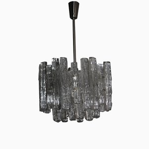 Eight-Light Ice Glass Chandelier from Kalmar, 1960s