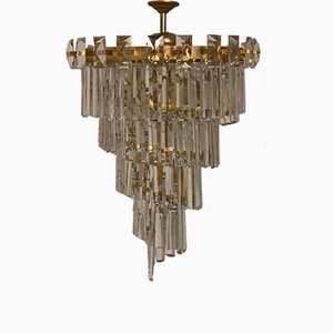 Crystal and Gilt Brass Chandelier by Oswald Haerdtl for Lobmeyr, 1950s