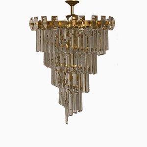 Lampadario in ottone dorato e cristallo di Oswald Haerdtl per Lobmeyr, anni '50