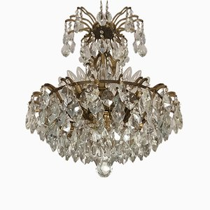 Large Austrian Crystal & Brass Chandelier, 1960s
