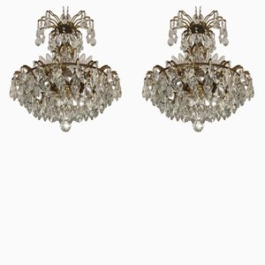 Large Austrian Crystal & Brass Chandeliers, 1960s, Set of 2
