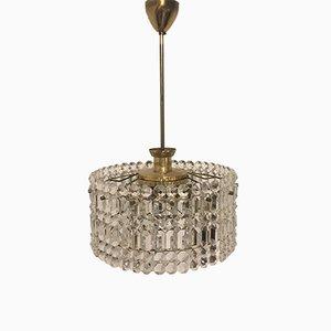 Lámpara de araña Mid-Century de latón y cristal con dos niveles de Kinkeldey, años 60