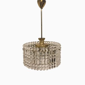 Mid-Century Two-Tiered Brass and Grip Crystal Chandelier from Kinkeldey, 1960s