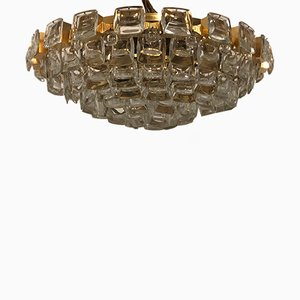 Gilt Brass and Crystal Glass Flush Mount from Palwa, 1970s