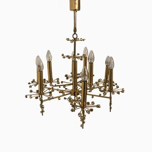 Mid-Century Gilded Brass & Crystal Chandelier from Palwa, 1960s