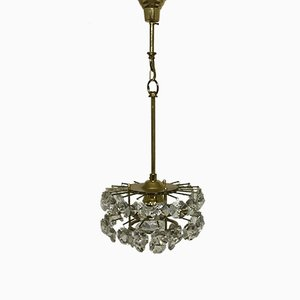 Mid-Century Gilt Brass & Crystal Chandelier from Palwa, 1960s