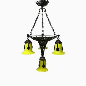 Lámpara de araña francesa Art Déco de vidrio Loetz, años 20