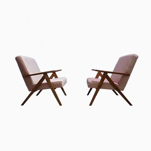 Fauteuils Mid-Century en Velours Rose, 1960s, Set de 2