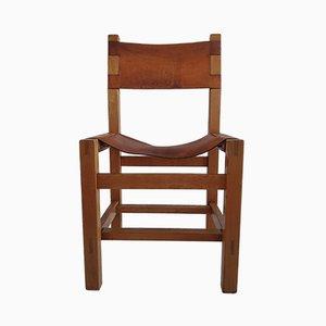 Elm & Leather Armchair from Maison Regain, 1960s