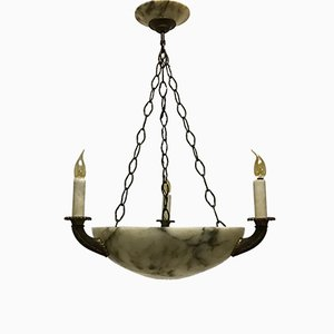 Four-Light Alabaster and Bronze Hanging Lamp, 1900s