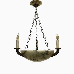 Lámpara colgante de alabastro y bronce con cuatro puntos de luz, década de 1900