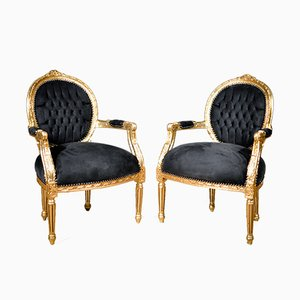 Golden Solid Wood & Black Velvet Armchairs, 1930s, Set of 2