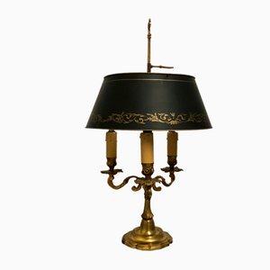 Französische Empire Stil Bouillotte Tischlampe aus Bronze & lackiertem Metallblech, 1940er