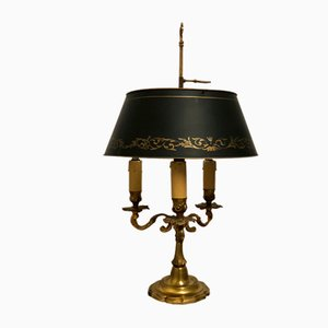 French Empire Style Bronze & Tole Bouillotte Table Lamp, 1940s