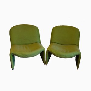 Green Lounge Chairs by Giancarlo Piretti, 1960s, Set of 2