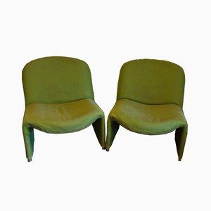 Sillones verdes de Giancarlo Piretti, años 60. Juego de 2