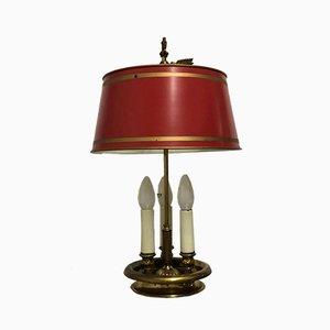 Französische Empire Stil Bouillotte Lampe aus Bronze & lackiertem Metallblech, 1940er