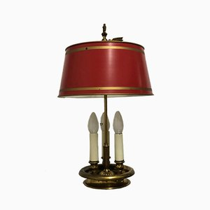 French Empire Style Bronze and Tole Bouillotte Lamp, 1940s