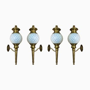 Wall Sconces Brass & Opaline Glass Wall Lights, 1920s, Set of 4