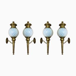 Wandlampen aus Messing & Opalglas, 1920er, 4er Set