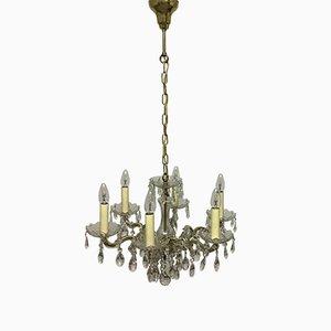Kronleuchter mit sechs Leuchten aus Messing & Swarovski-Kristallen von Ernst Palme, 1960er