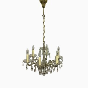 Six-Light Brass and Swarovski Crystal Chandelier by Ernst Palme, 1960s