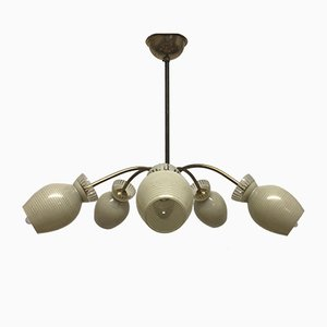 Mid-Century Glass and Brass Sputnik Chandelier, 1950s