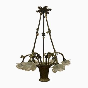 French Bronze & Glass Bouquet Chandelier, 1900s