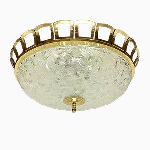 Einbaulampe aus Glas & Messing im Art Deco-Stil, 1960er
