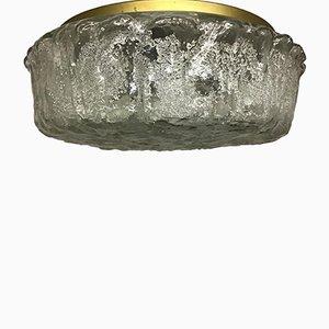 Mid-Century Brass & Textured Glass Flush Mount from Limburg, 1960s