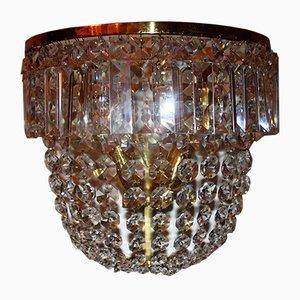 Large German Cut Crystal & Brass Sconces from Ernst Palme, 1960s, Set of 2