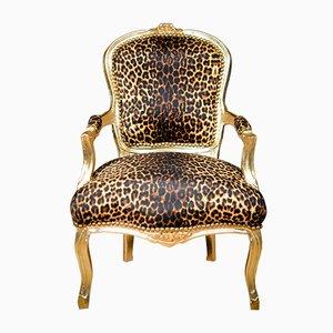 Sessel mit Gestell aus vergoldetem Holz & Bezug in Leoparden-Muster, 1930er