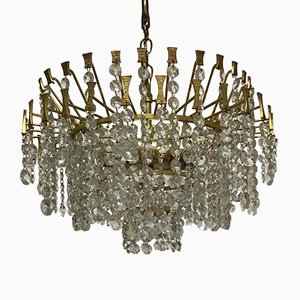 Mid-Century Gilt Brass and Crystal Chandelier from Palwa